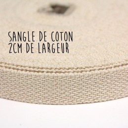 Sangle de coton écrue, 2 cm de large