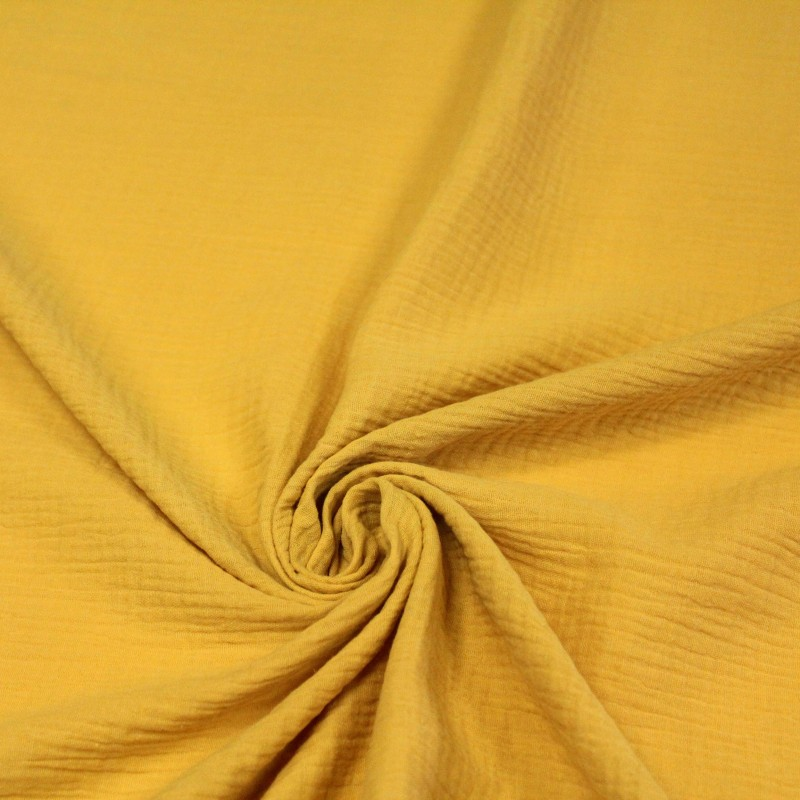 Tissu Double gaze de coton jaune moutarde - Oeko-Tex