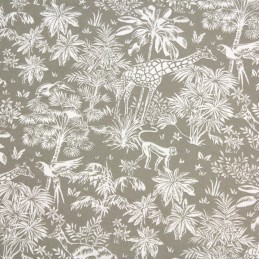 Tissu Toile de Jouy forêt tropicale, singes et girafes, tons taupe clair & blancs - Oeko-Tex