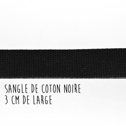 Sangle de coton noire, 3 cm...