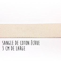 Sangle de coton écrue, 3 cm...