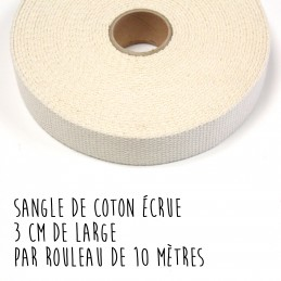 Sangle de coton écrue, 3 cm de large, par 10 mètres