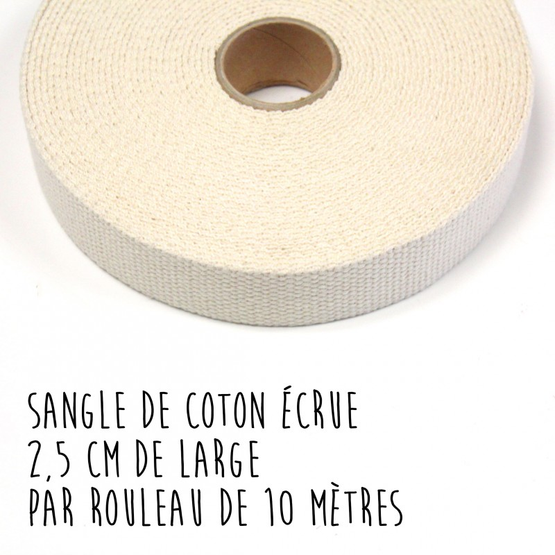 Sangle de coton écrue, 2,5 cm de large, par 10 mètres