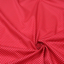 Tissu popeline de coton rouge à pois blancs - COLLECTION POLKA DOT - Oeko-Tex