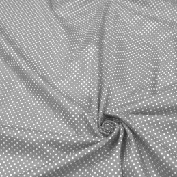 Tissu popeline de coton gris moyen à pois blancs - COLLECTION POLKA DOT - Oeko-Tex