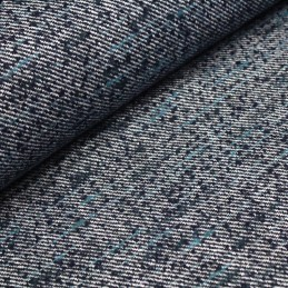 Tissu Tweed de laine, aux rayures bleues marine et blanches, touches bleues turquoise fabrication italienne