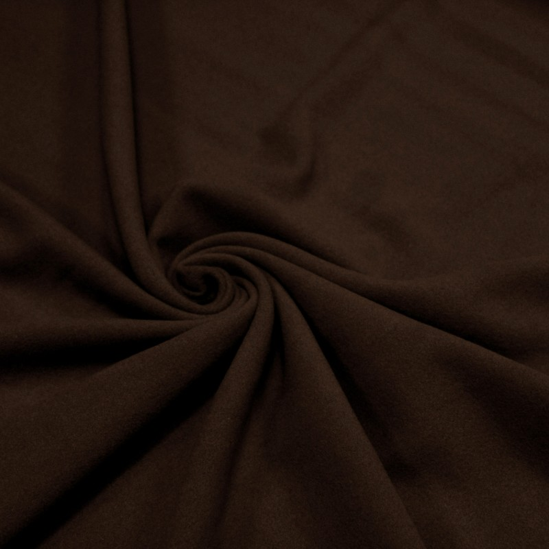 Tissu velours de laine marron chocolat uni - Fabrication italienne