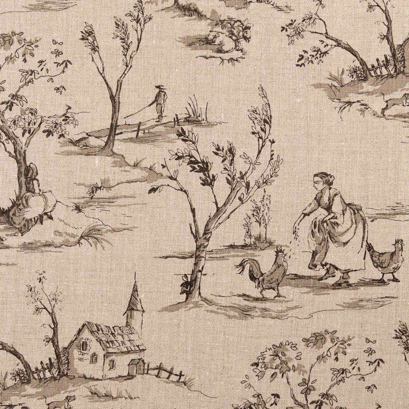 Tissu Lin Toile de Jouy traditionnelle, motif gris anthracite fond naturel - COLLECTION HELENA, CLARKE & CLARKE