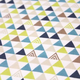 Tissu de coton TRIMIX, triangles & motif aztèque aux multicolores - OekoTex