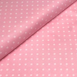Tissu de coton rose à pois roses pâle 6mm - COLLECTION POLKA DOT