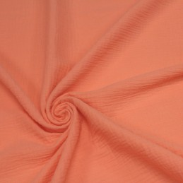 Tissu Double gaze de coton orange papaye uni - Oeko-Tex