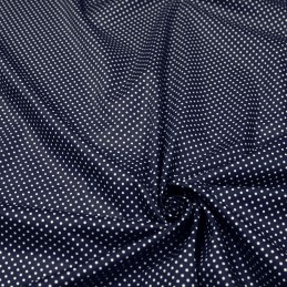 Tissu popeline de coton bleu nuit à pois blancs - COLLECTION POLKA DOT - Oeko-Tex