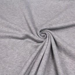 Tissu French Terry à sweat shirt / molleton de coton gris chiné clair - Oeko-Tex