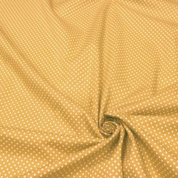 Tissu popeline de coton jaune moutarde à pois blancs - COLLECTION POLKA DOT - Oeko-Tex