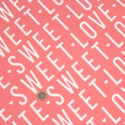 Tissu Molleton de coton corail SWEET LOVE CUTE - Oeko-Tex